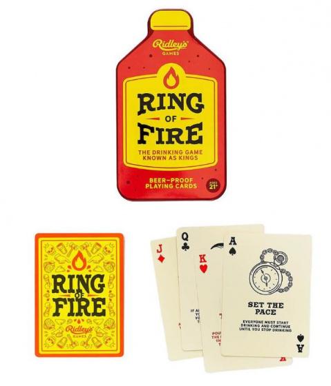 Ridley's Games drinkkaartspel Ring Of Fire 13 x 7 cm PVC rood-geel