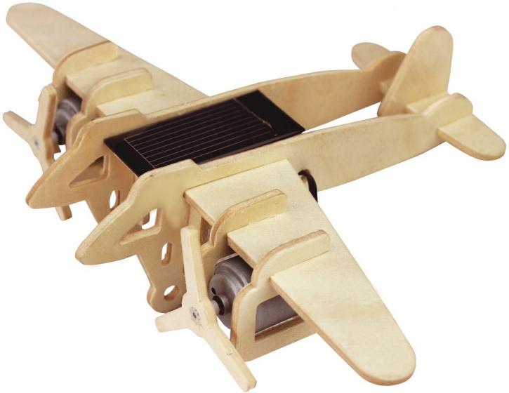 Robotime modelbouwset Bomber Solar hout 20 cm blank 14 delig