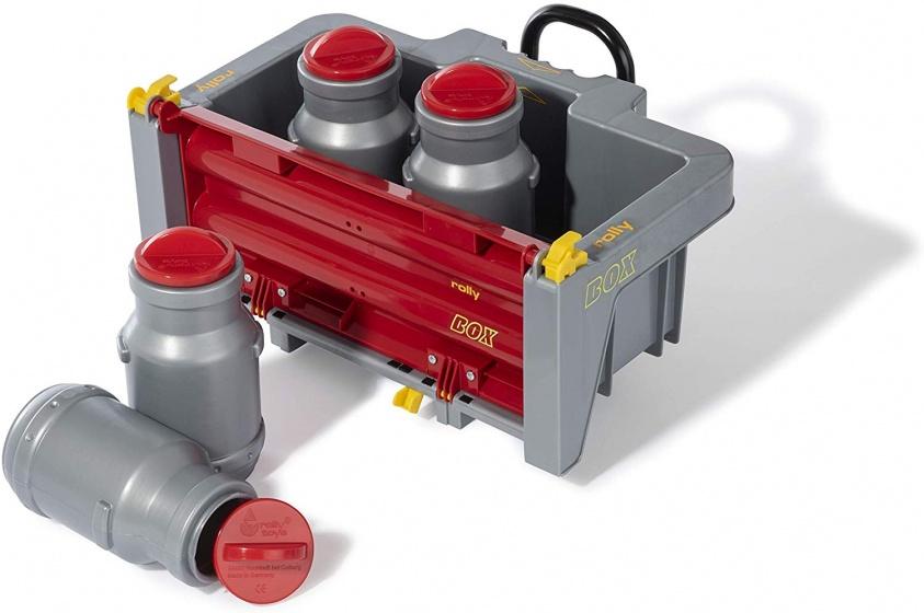 Rolly Toys aanhanger RollyBox met melkkannen 5 delig grijs/rood