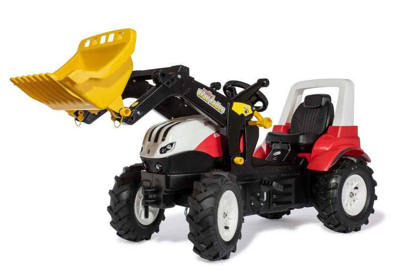 Rolly Toys traptractor met lader/luchtbanden Steyr rood/zwart