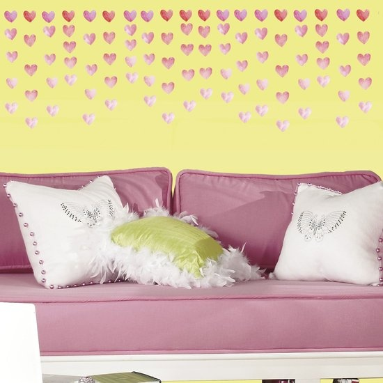 RoomMates muurstickers watercolor heart 180 stickers