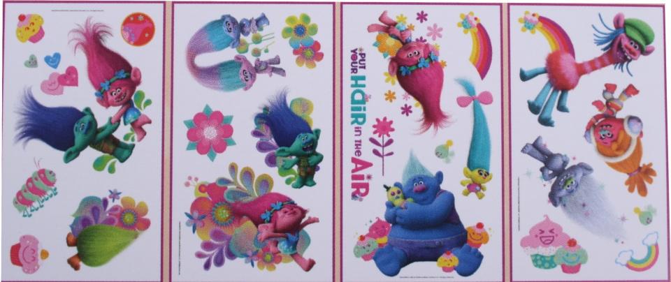 Roommates Trolls muurstickers meisjes multicolor 4 stuks