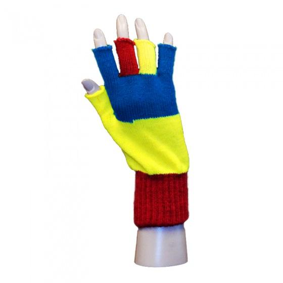 Handschoen rood-geel-blauw