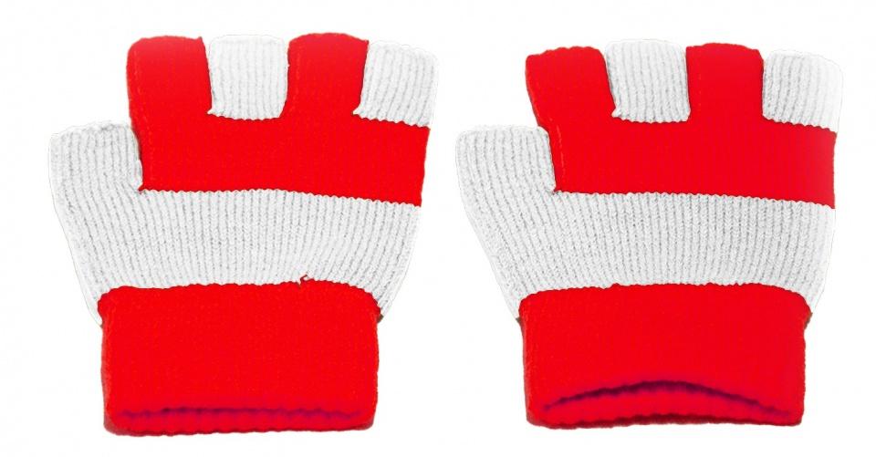 Handschoenen vingerloos gebreid rood-wit