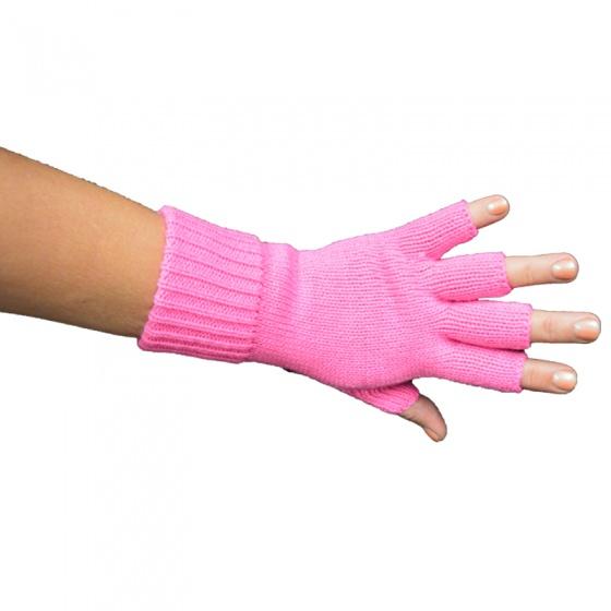 Handschoen vingerloos fluor pink
