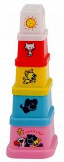 Rubo Toys Woezel en Pip stapelbekers 5 delig