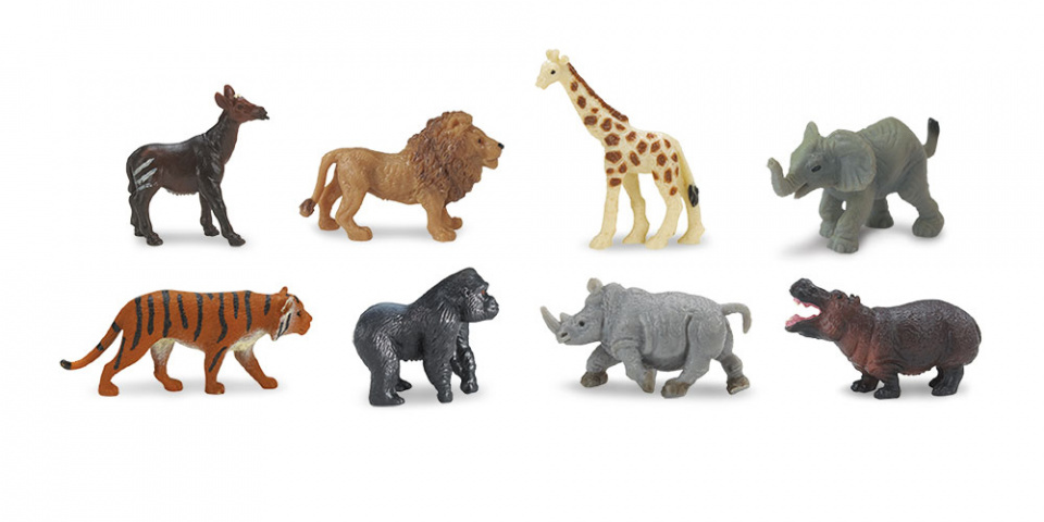 minifigures Good Luck wild animals 2 cm rubber 8 pieces