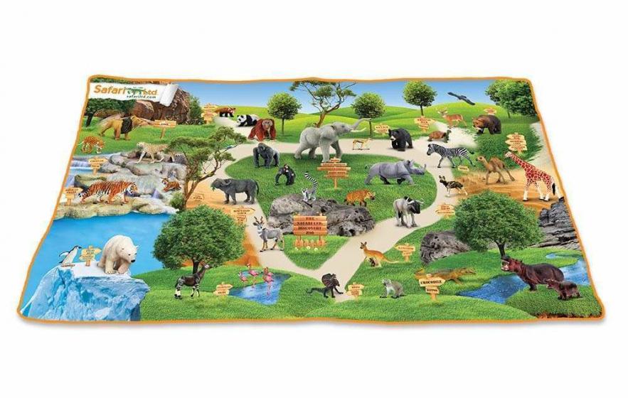 Safari wilde dieren Speelmat Afrika 62 x 117 cm katoen