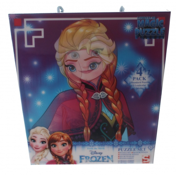 Sambro 3D puzzel Frozen 4 x 24 stukjes blauw