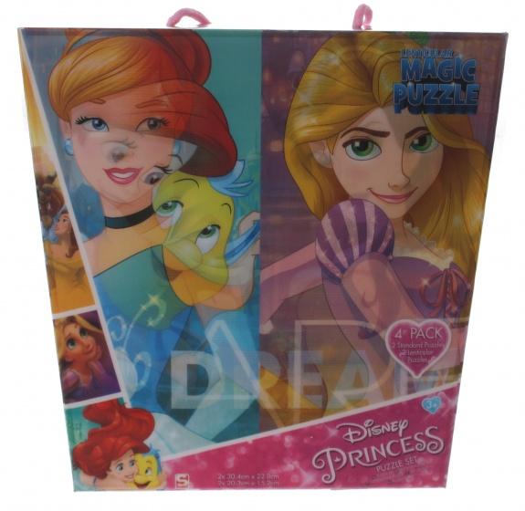 Sambro 3D puzzel Princess 4 x 24 stukjes roze
