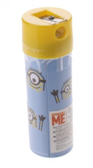 Sambro kleurpotloden in koker Minions 12 stuks 11 cm geel