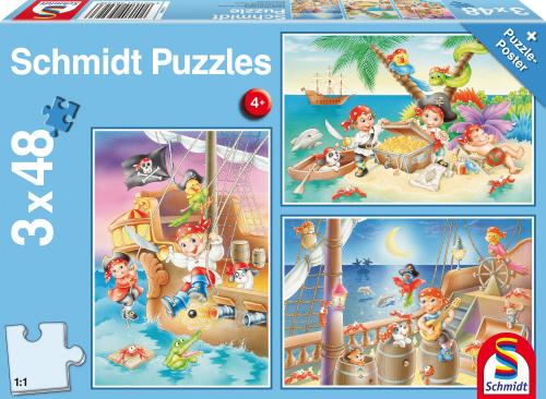 Schmidt 3 in 1 puzzel Piraten! junior karton blauw 4 delig