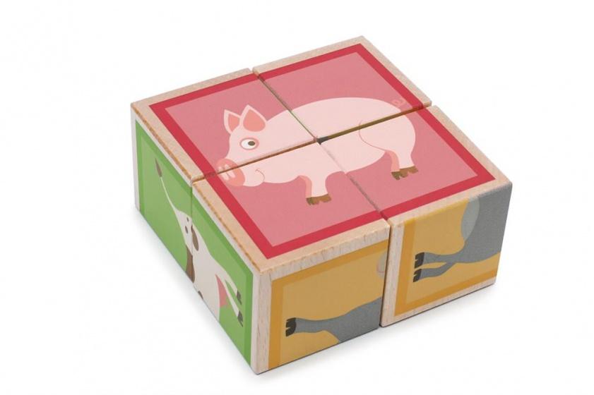 Scratch blokkenpuzzel boerderijdieren 4 stukken 9 cm