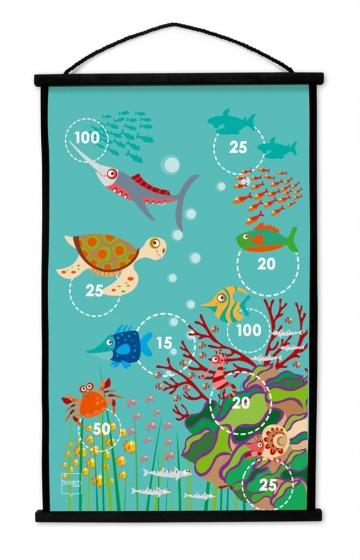 Scratch dartbord Koraalrif 2 zijdig 60 x 38 met 6 dartpijlen