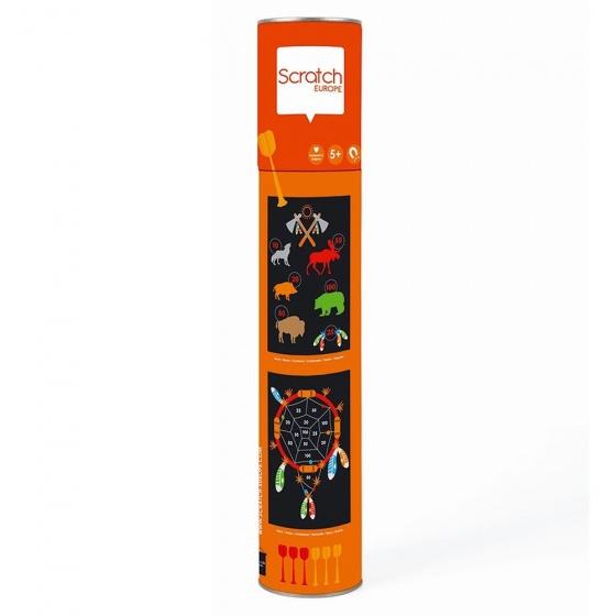 Scratch dartspel indiaan magnetisch 36 x 55 cm tweezijdig