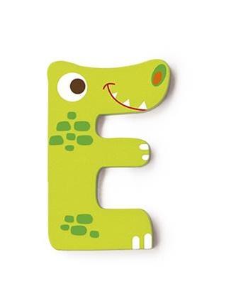 Scratch letter E krokodil groen 5.5 cm