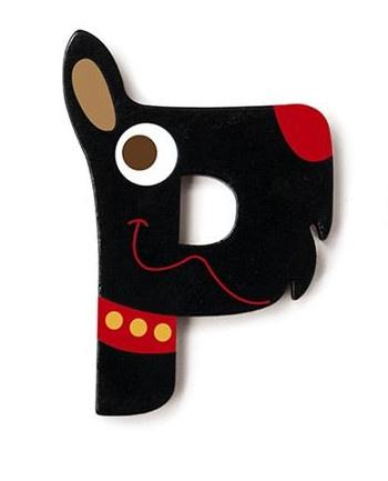 Scratch letter P hond zwart 5.5 cm