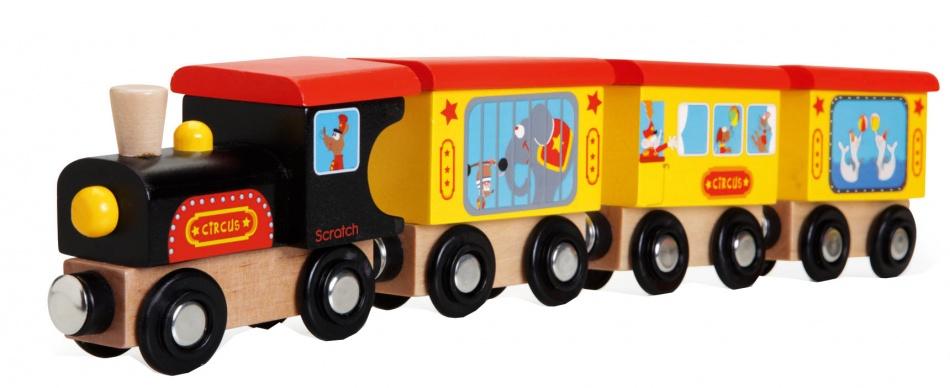 Scratch Prescool: houten Trein Circus 31 x 3.5 x 6 cm