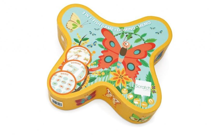 Scratch vlinderspel 3 in 1 hengel, domino, memorie