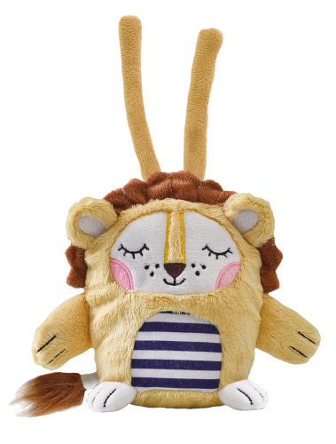SES Creative muziekknuffel Leo leeuw junior 20 cm pluche bruin