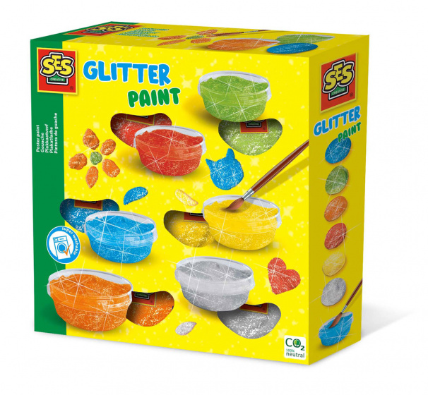 SES plakkaatverf Glitter junior 20 cm acryl 6 kleuren
