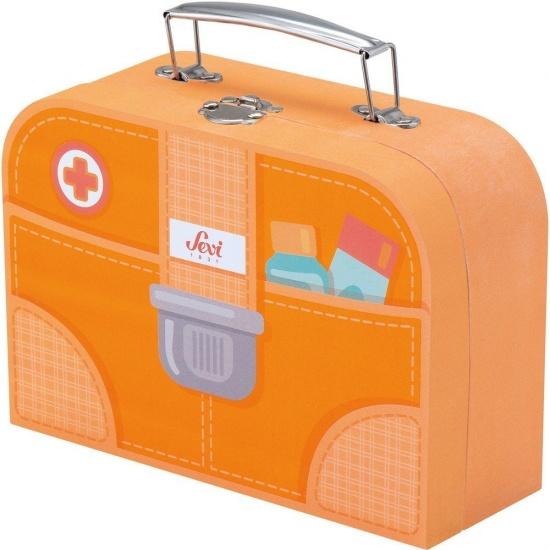 Sevi dokterskoffer set 10 delig oranje 20 x 15 x 8 cm
