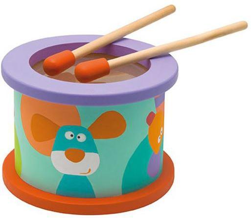 Sevi houten drum junior multicolor 12 cm