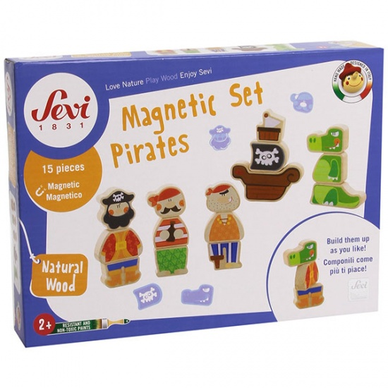 Sevi Houten Figuren Piraten Magnetisch 15 delig