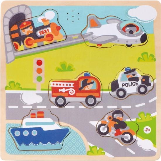 Sevi Houten puzzel voertuigen met geluiden