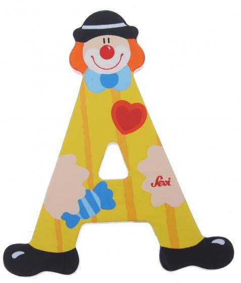 Sevi letter a clown hout 10 cm geel