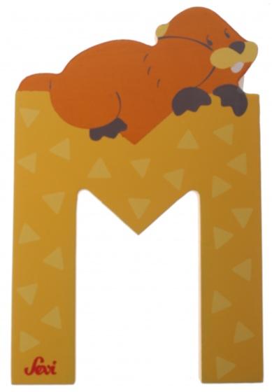 Sevi Letter M Dier 10 cm geel