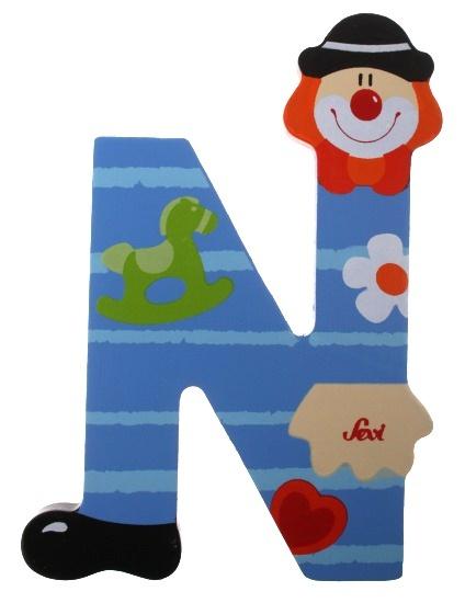 Sevi Letter N Clown blauw 10 cm