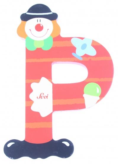 Sevi Letter P Clown rood 10 cm