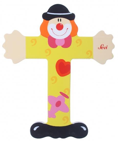 Sevi letter T clown 10 cm geel