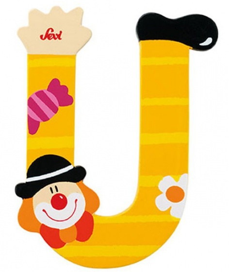 Sevi Letter U Clown 10 cm geel