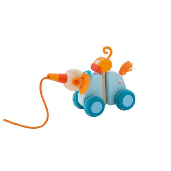 Sevi trekdier olifant 17 cm blauw/oranje