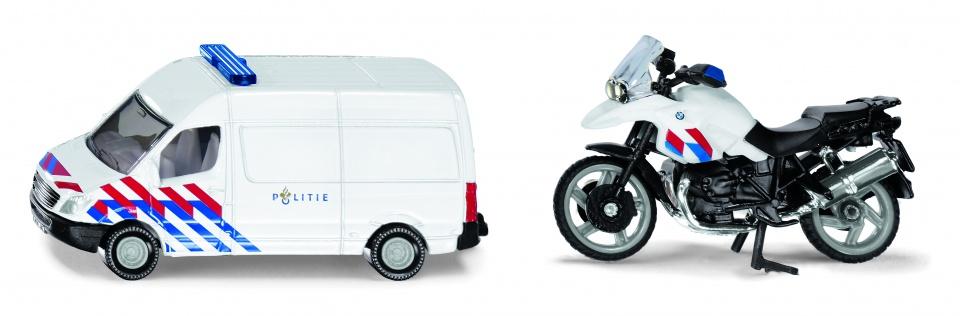 Siku Nederlands politiebusje en politiemotor wit (1655003)