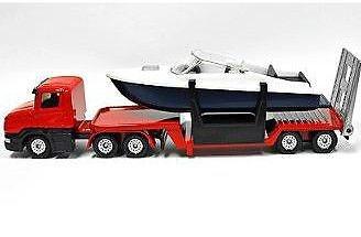 Siku Scania Dieplader (rood) Met Boot (1613)