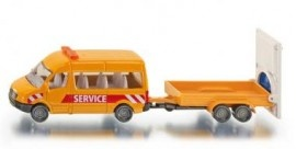 Siku Service Bus Met Aanhanger en Waarschuwingsbord (1660)