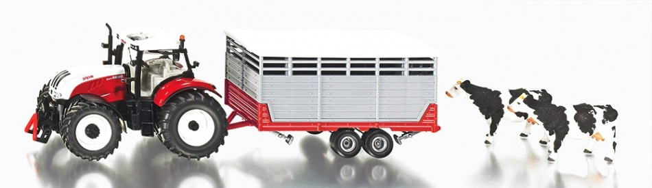 Siku Steyr Tractor Met Veeaanhangwagen 1:32 (3870)