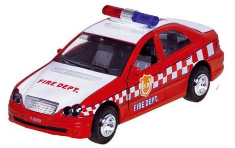 Sirene Team Metalen Brandweerauto: Rood 15 cm