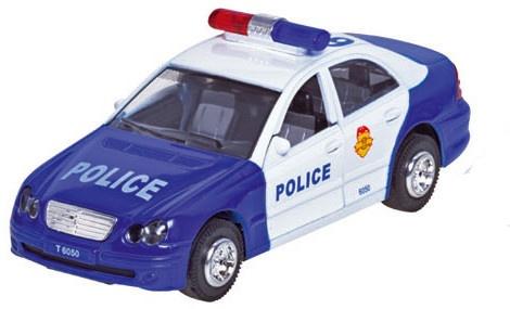 Sirene Team Metalen Politieauto: Blauw 15 cm