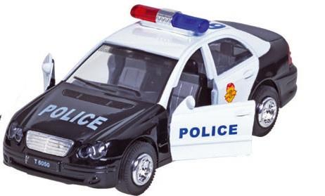 Sirene Team Metalen Politieauto: Zwart 15 cm