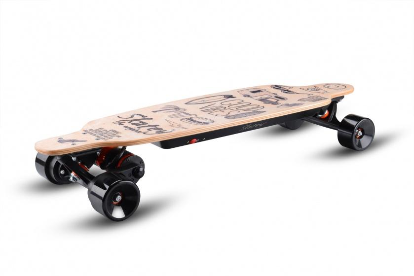 Skatey 3200 Lithium Wood Art electrisch skateboard unisex 90 cm