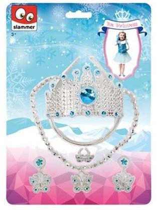 Slammer Ijsprinses Set Kroon Met Juwelen Zilver/ Blauw