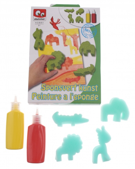 Slammer Sponge Paint Art set 6 delig groen/rood/geel