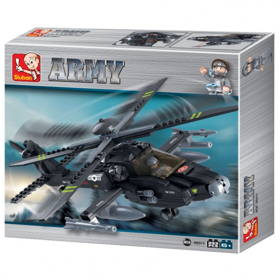 Sluban Army Apache Helikopter M38-B0511
