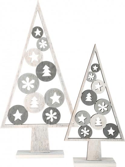 Small Foot Decoratieve houten kerstbomen set 23/33 cm grijs