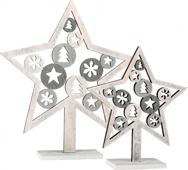 Small Foot Decoratieve houten sterren set 26/28 cm grijs