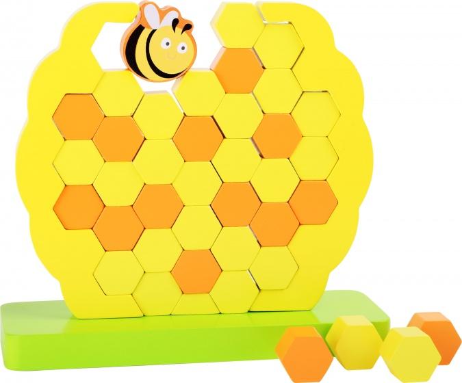 Small Foot Evenwichtstoren Honingraat hout geel 21 x 20 cm